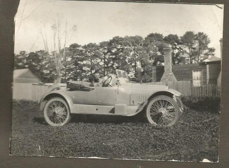 Annie in old car