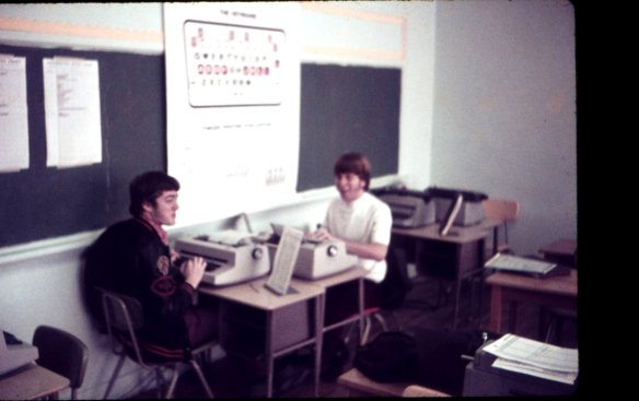 Robbie Swanda & David Lodes, fellow typists and Annual Staff members bashing out the Apache 1973 school annual