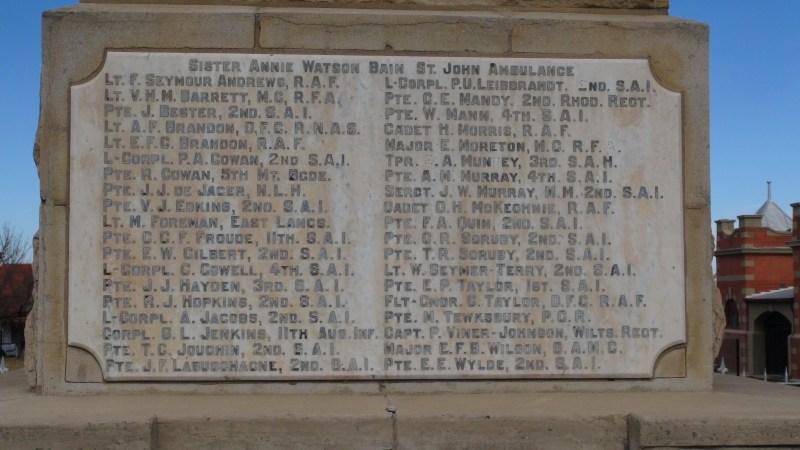 monument WW1 Harrismith Annie Watson Bain