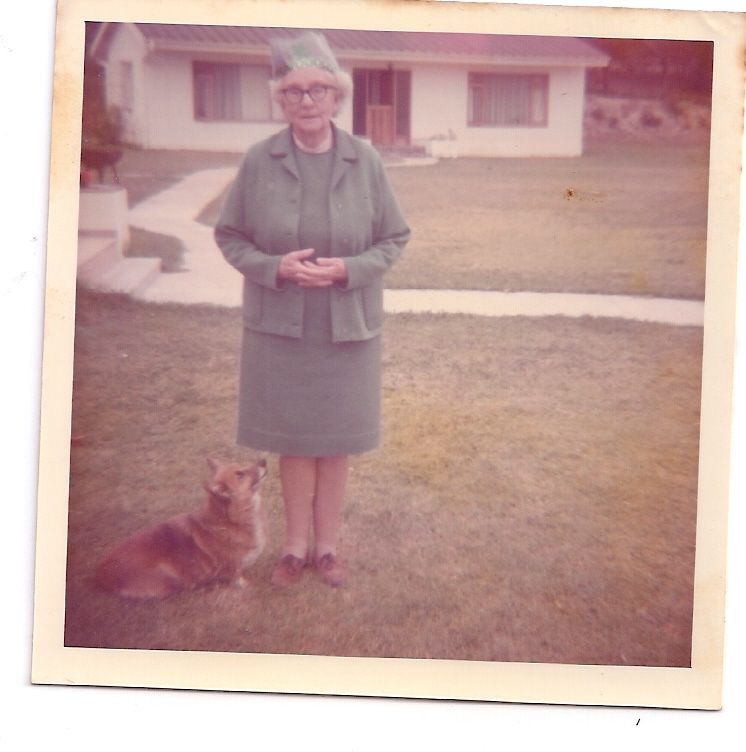 Annie in George - when? Dressed like Mrs Queen - and a corgi at her feet!!