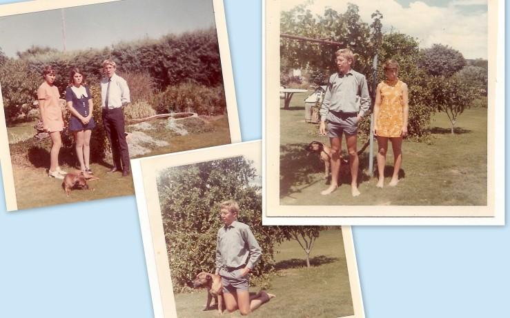 Kids at home - fishpond, Jock's kennel, grapevine, tree-tables, big hedge