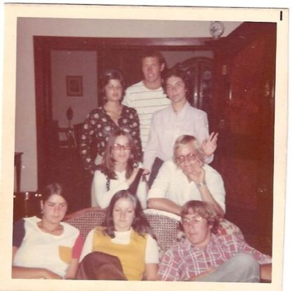 Georgie, Pierre, Sheila - Lettuce, Rope - Julia (Ohio exchange student), Bess, Koos - (in Bessie's house Jan 1974)