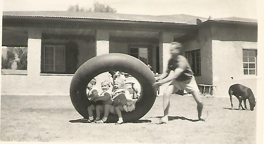 1955 Barbs Birdhaven tyre Dad